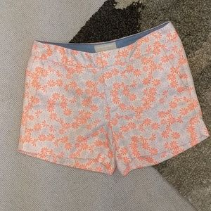 Neon Orange Banana Republic Floral Shorts